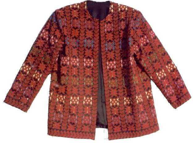COLORED JACKET-Arabic Cross Stitch Embroidery, Palestinian embroidered (cross stitch) dresses, Free Shipping, Palestinian embroidered (cross stitch) Jackets, Palestinian embroidered (cross stitch) Shawls , Palestinian embroidered (cross stitch) Vests, Palestinian embroidered (cross stitch) cushions, Palestinian embroidered (cross stitch) pillows, Palestinian embroidered (cross stitch) Wall hangings